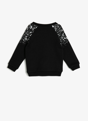 Koton Kids Yazılı Baskılı Sweatshirt Siyah